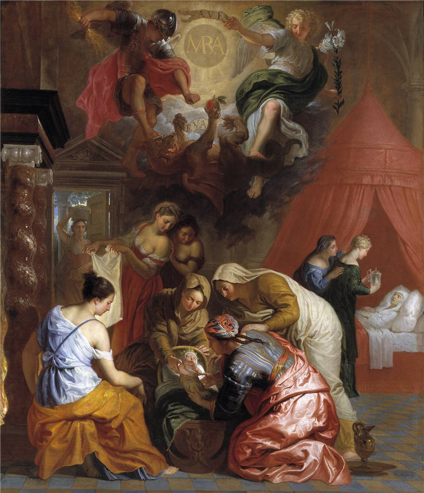 Oil Painting 'Quellinus Jan Erasmus El Nacimiento De La Virgen 1650 60', 30 x 35 inch / 76 x 89 cm , on High Definition HD canvas prints is for Gifts And Basement, Bed Room And Nursery Decoration, diy