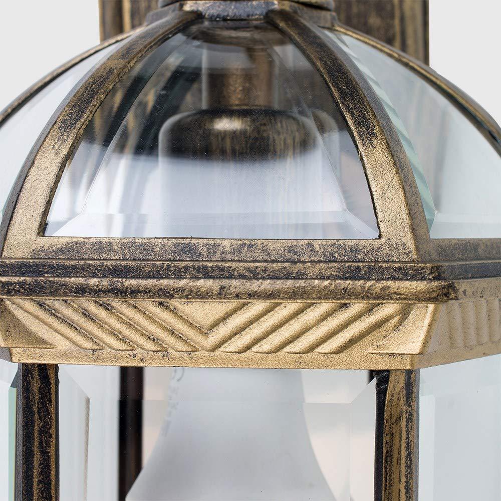 MiniSun classificata IP23 Lampada//lanterna tradizionale da parete per esterni in alluminio dorato spazzolato
