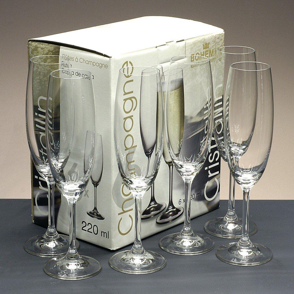 la galaica Caja de 6 Copas de Cristal para champ/án Cava o espumosos colecci/ón CRISTALLIN 22,4 cm de Altura. talladas a Mano