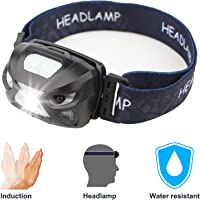 LED Headlamp Rechargeable Sensor Flashlight with USB Cable, Great for Camping, Hiking, Walking, Reading, Included 2 Modes Red Light for SOS