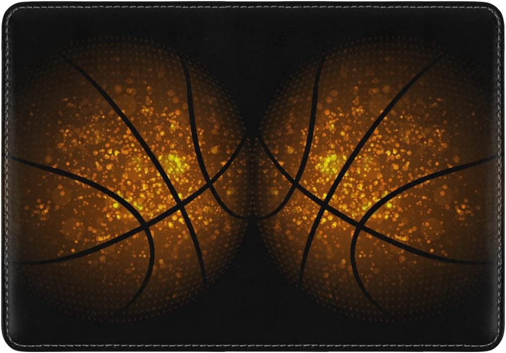 Galaxy Basketball Genuine Leather UAS Passport Holder Travel Wallet Cover Case for Womens Mens Kids