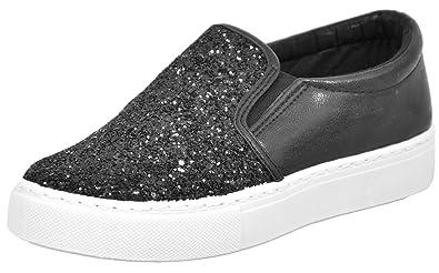 d3c9f738d6f35 New Ladies Plimsolls Trainers Sparkle Pumps Womens Slip on Canvas Shoes  Size 3-8
