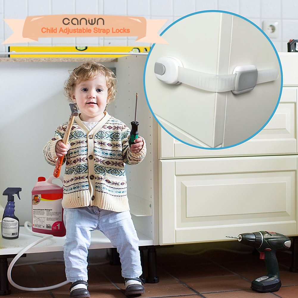 Child Safety Locks Toilet Seat Cupboards Wardrobes Oven Strong Adhesive Child Drawer Safety Locks Drawers Fridge No Drilling or Tools 8 Pack Canwn Adjustable Strap Locks for Cabinets