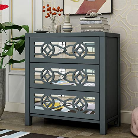 Amazon Com Danxee Wood Accent Buffet Sideboard Serving Storage Cabinet With 3 Drawers And Decorative Mirror Entryway For Bathroom Kitchen Dining Console Living Room Antique Navy Buffets Sideboards
