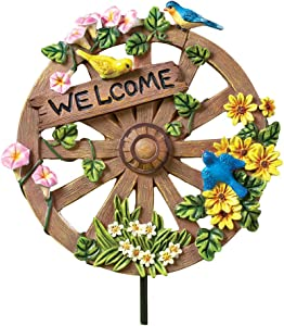 Collections Etc Wagon Wheel Welcome Garden Decoration Spring Yard Stake