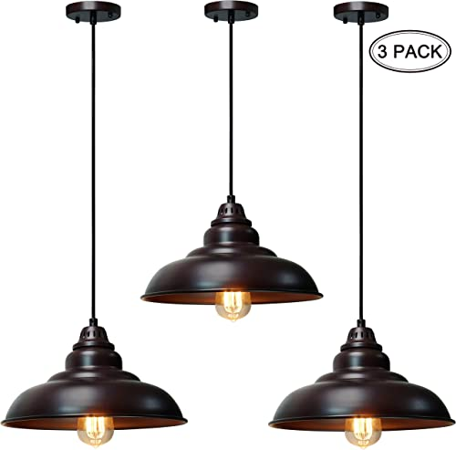 3 Pack Barn Pendant Lights, FINXIN FXPL05 Hanging Light for Kitchen Dining Table Oil-Rubbed Bronze 12 Ceiling Dome Pendant Lighting E26 Base 3 Pack in One Set