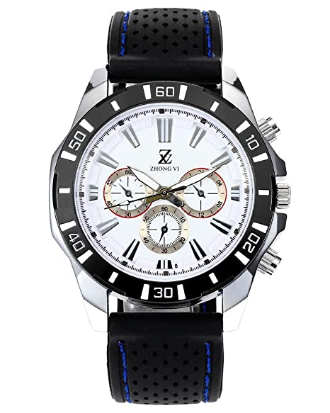 Top Plaza para hombre negro banda de silicona reloj Casual reloj de cuarzo con 3 pequeño