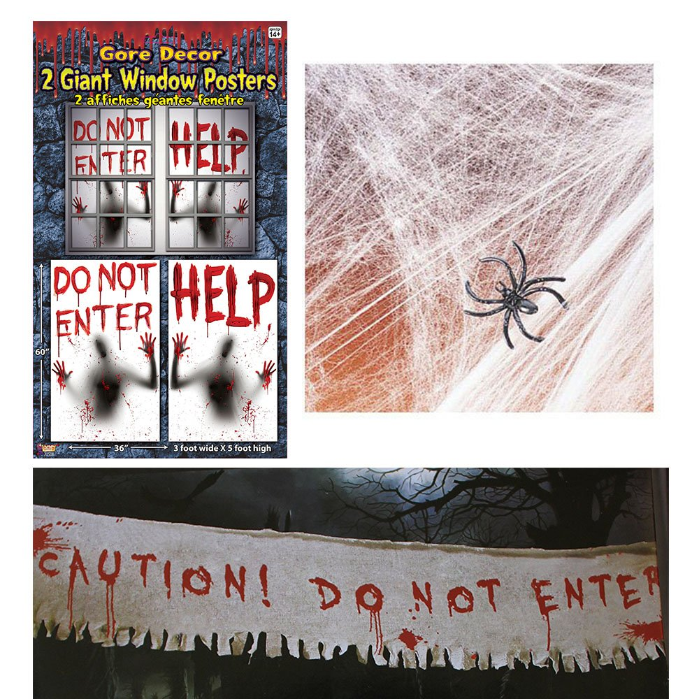 02 Haunted House Halloween Bloody decorating kit, Giant Window Posters, Cloth Banner, Stretchable Spider Web