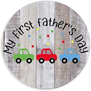 by Unbranded Rustic Vintage Distressed Wooden Sign Tabletop/Shelf/Home Wall/Office Decoration Art Baby Baby First Fathers Day Daddy 12x12 Inch