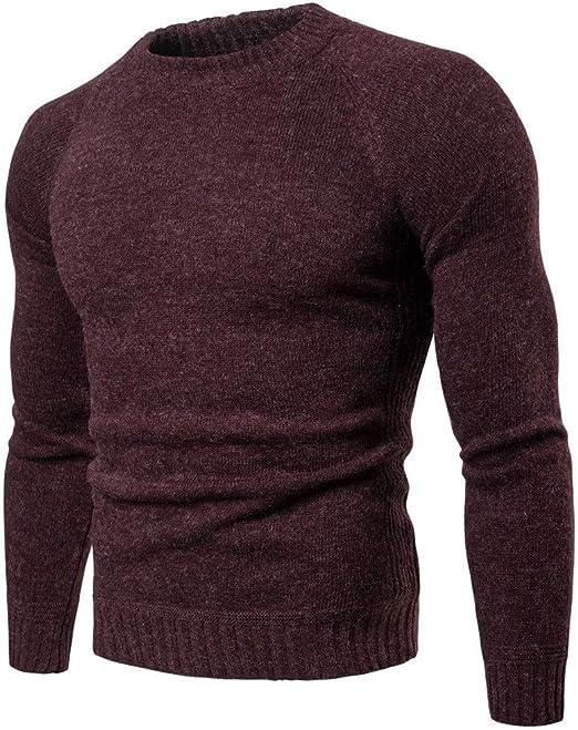 Jersey de punto para hombre Camisa de punto que basa de los hombres de cuello redondo