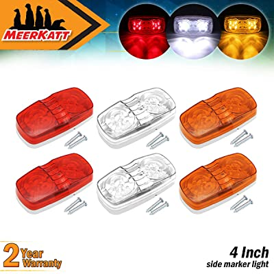 Meerkatt (Pack of 6) 2 Amber + 2 Red + 2 White LED Double Bullseye Super Bright 10 Diodes Button Trailer Marker Lights Clearance Lamp Camper Tow Truck Caravan Bus Lorry Boat 12V DC Surface Mount RO12: Automotive