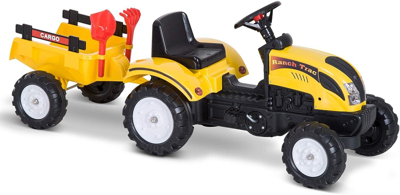 Tractor Pedal con Remolque para Niños 3-6 Años Juguete de Montar Coche de Pedales Carga 35kg 133x42x51cm Hierro y Plástico