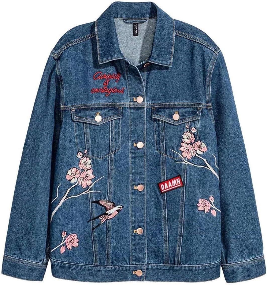 JACKSWER Womens Floral and Bird Embroidered Denim Jacket