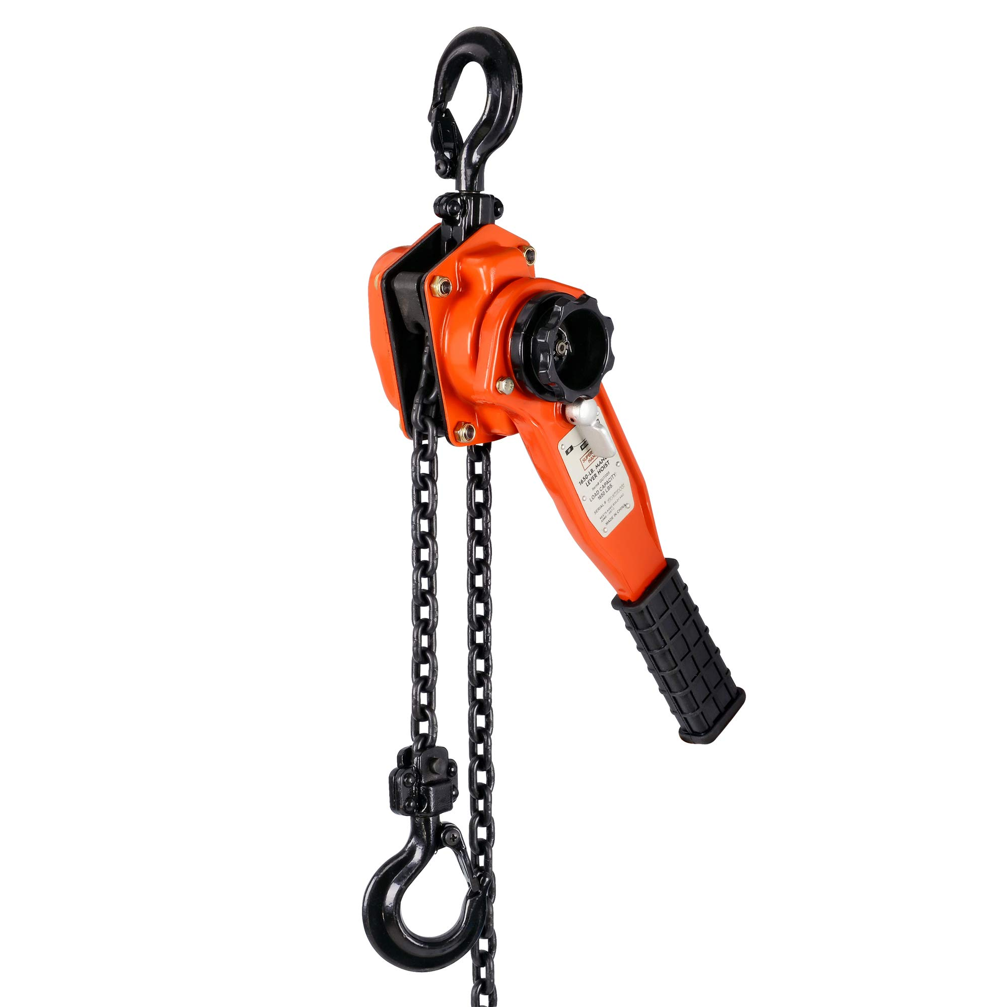 SuperHandy Manual Lever Hoist Come Along 3/4 TON 1650 LBS Capacity 5FT Lift 2 Heavy Duty Hooks Commercial Grade Steel for Lifting Pulling Construction Building Garages Warehouse Automotive Machinery