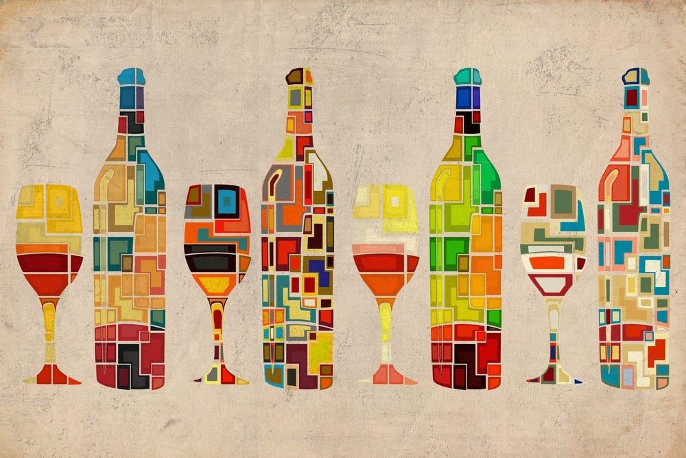 ワインボトルとガラスグループ幾何 36 x 54 Giclee Print LANT-49442-36x54 B017E9ZX06  36 x 54 Giclee Print
