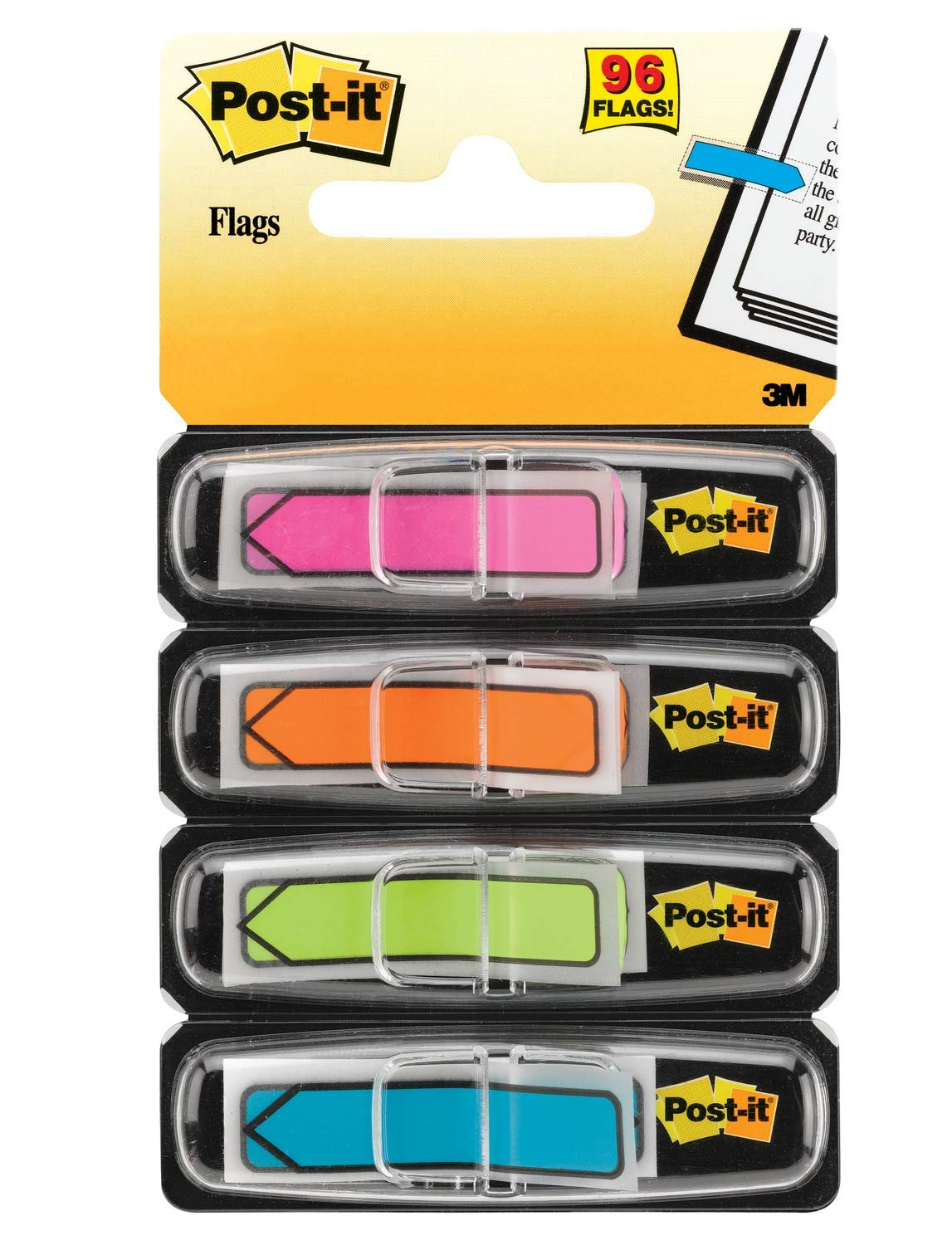 3M Office Products Arrow Flags, Assorted Bright Colors, 1/2-Inch Wide, 24/Dispenser, 4-Dispensers/Pack (684-ARR4)