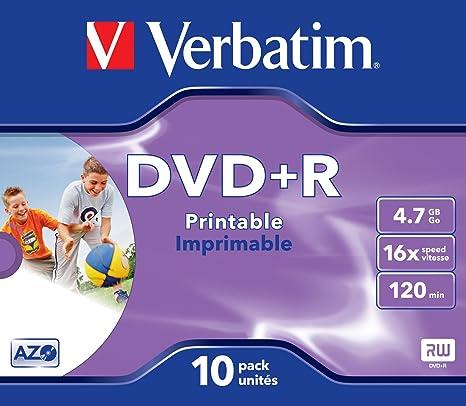 Verbatim - Juego de 10 DVD + R imprimibles con Impresora de ...