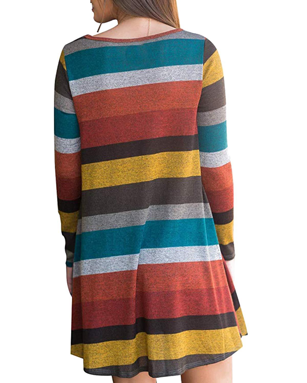 kenoce kvinnors jumper klänning långärmad v-ringad tunika tröja toppar lös lång jumper pullover kausal t-shirt klänning överdimensionerade blusar B-b Stripe Orange