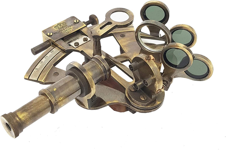 Lat/ón n/áutico Vintage r/éplica sextante en caja de madera con dos telescopios decoraci/ón mar/ítima Marino Regalo octant Navegaci/ón instrumento astrolabio