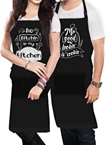 Funny Aprons for Couples Cooking Gifts for Parents Friends Cooking, Grilling, Baking Apron Set of 2 -