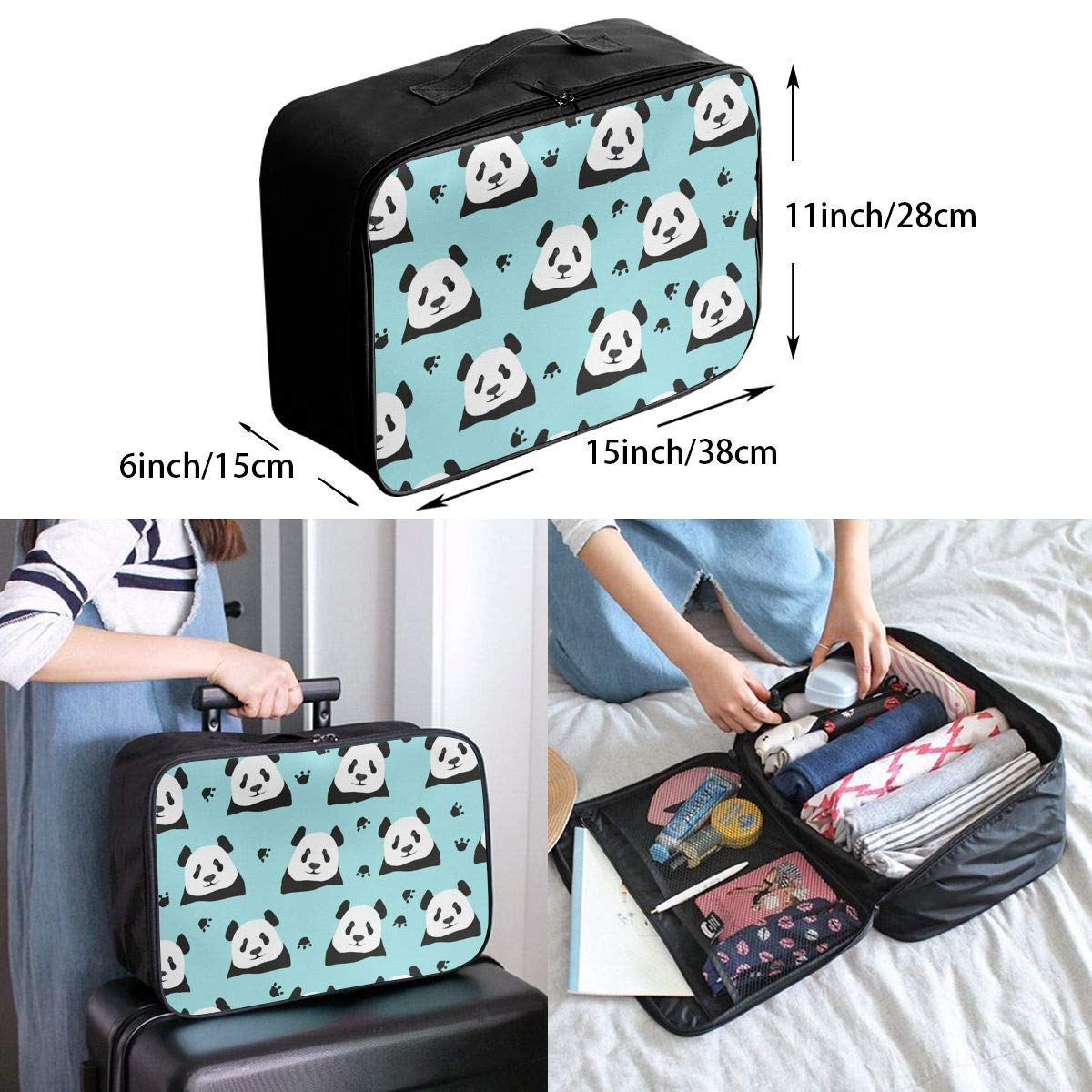 Travel Fashion Lightweight Large Capacity Duffel Portable Waterproof Foldable Storage Carry Luggage Tote Bag Green Panda Pattern