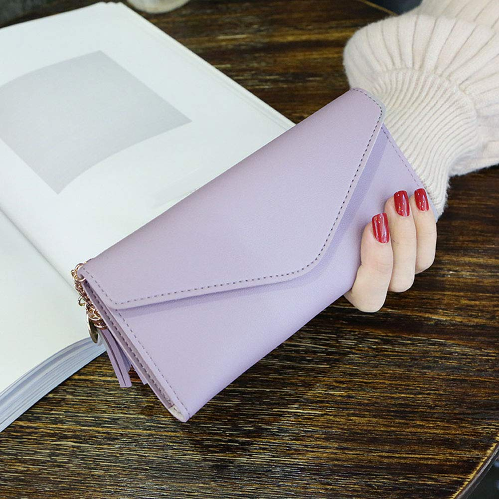 Aland Solid Color Faux Leather Women Long Purse Card Cash Holder Envelope Clutch Bag Purple by Aland (Image #5)