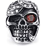 Konov Jewellery Mens Cubic Zirconia Stainless Steel Ring, Gothic Skull, Color Red Silver (with Gift Bag)