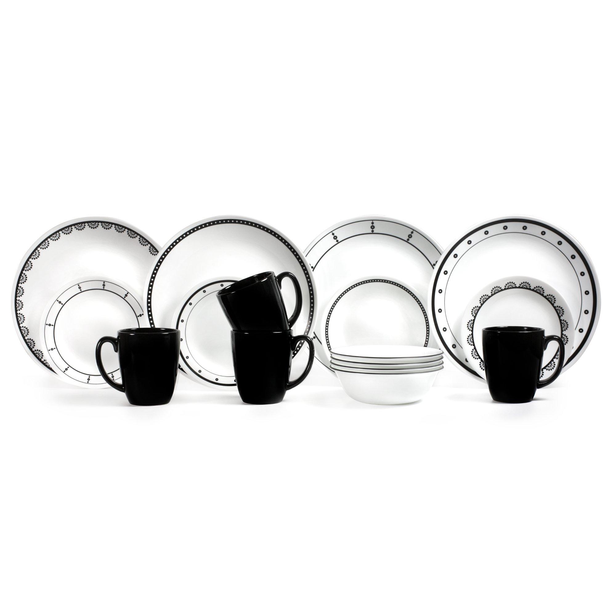 Corelle 3236 Chip and Break Resistant Dinner Set 16 Pieces, Black/White