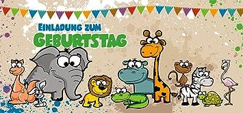 12 Einladungskarten Kindergeburtstag U201eSafariu201c | Geburtstagseinladungen  Einladungen Geburtstag Party Kinder Jungen Mädchen Tiere Zoo