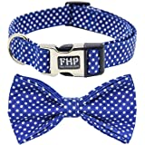 Fourhorse Cute Soft Dog and Cat Collar with Bowtie, Detachable Adjustable Bow Tie Collar Pet Gift (S, Bule Dot)