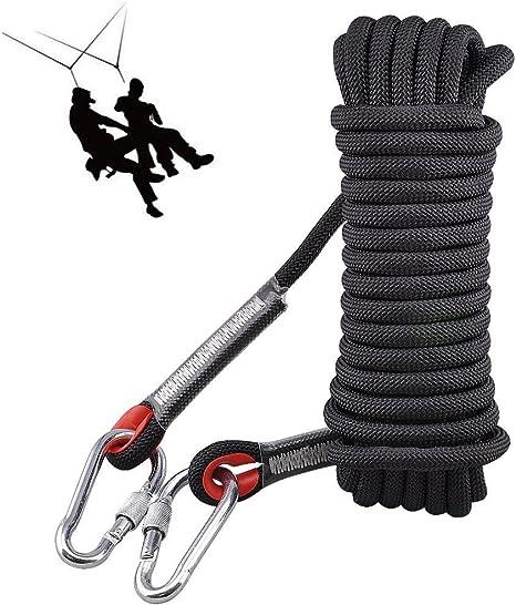 VVHOOY Cuerda de escalada,10mm de diámetro Accesorios de senderismo al aire libre Cuerda de seguridad de cable de alta resistencia para el rescate de ...