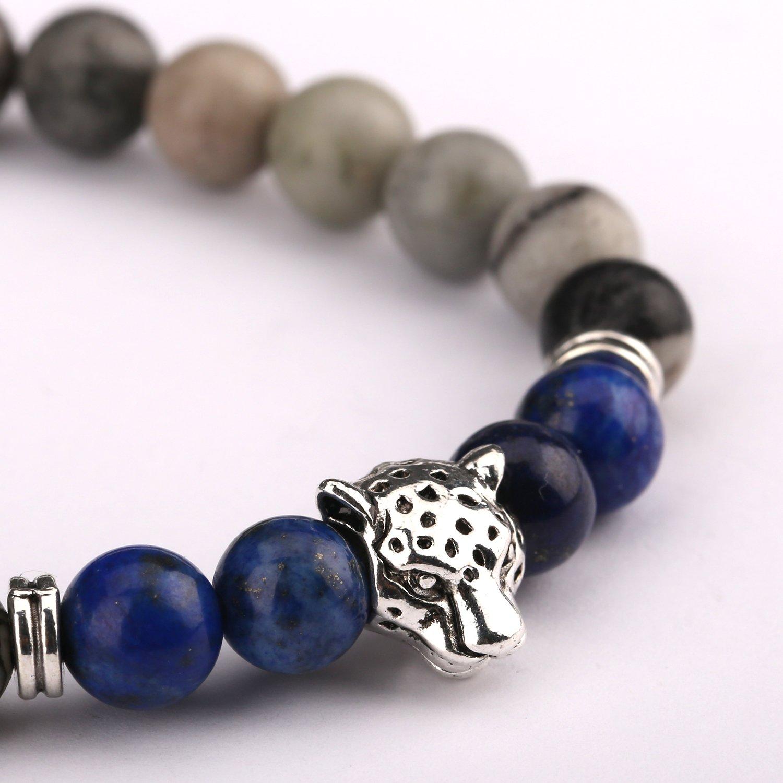 Bead Bracelets,UHIBROS Unisex Natural Tiger Eyes, Black Matte, Weathering Agate Beads Stretch Bracelets With Leopard Head Gold,Silver