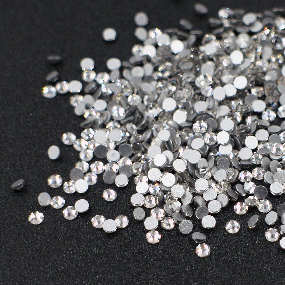 99b6a6c899 Amazon.com: MOPRETTY Round Rhinestone Crystal AB White Shining Non Hotfix  Flatback Rhinestones Mini Diamond 1440pcs/bag Clear SS8: Beauty