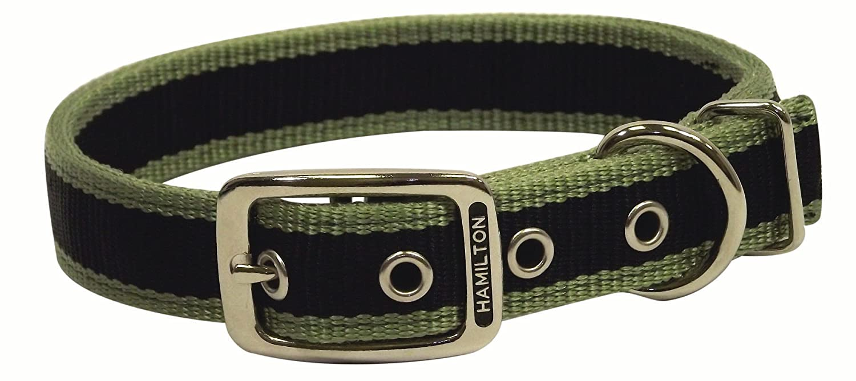 Hamilton DD 24TSGN Stripe Three 1-Inch x 24-Inch Double Thick Dog Collar, Moss Green