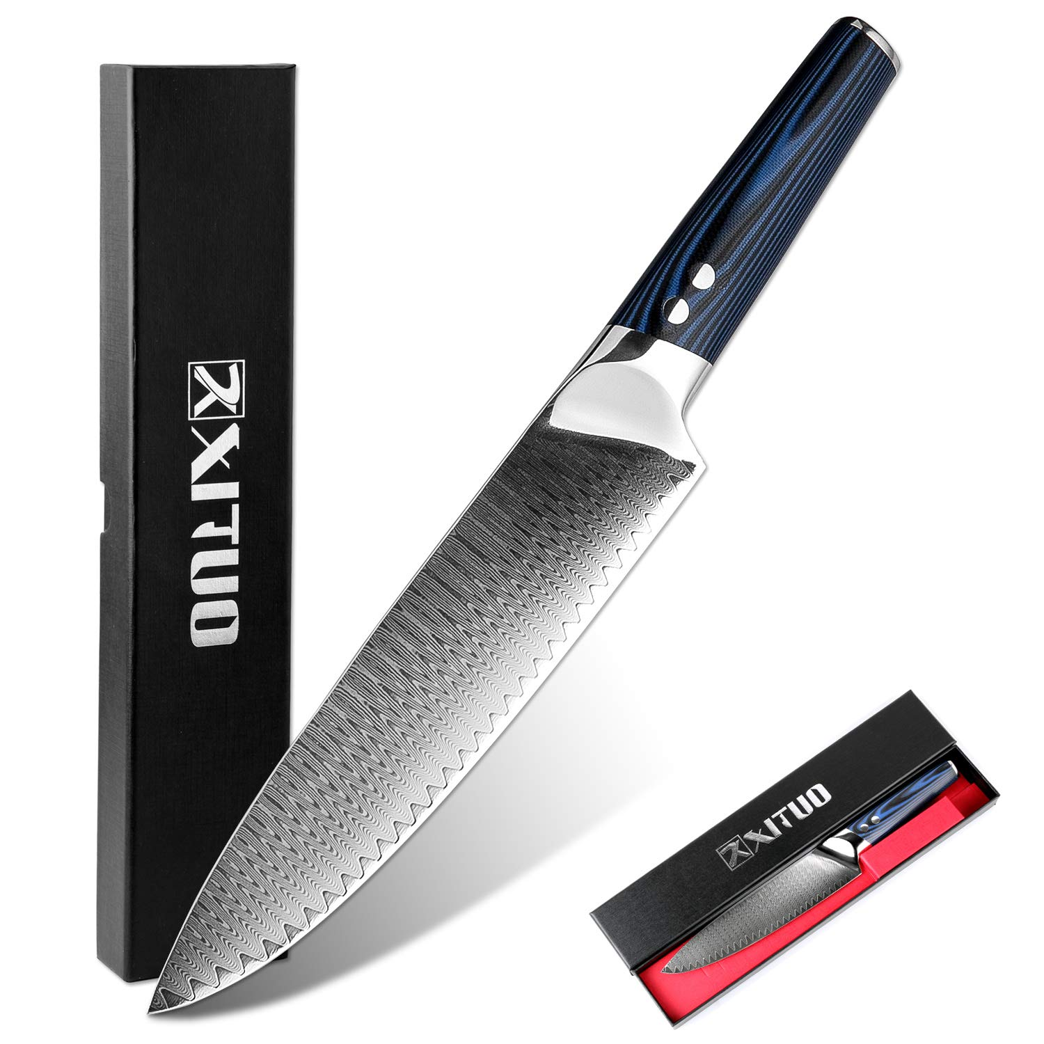Xituo 8 Inch Chef Knife Japanese Vg 10 High Carbon Damascus Stainless Steel Kitchen Knife With Ergonomic Micarta Handle And Razor Sharp Blade For Dealing