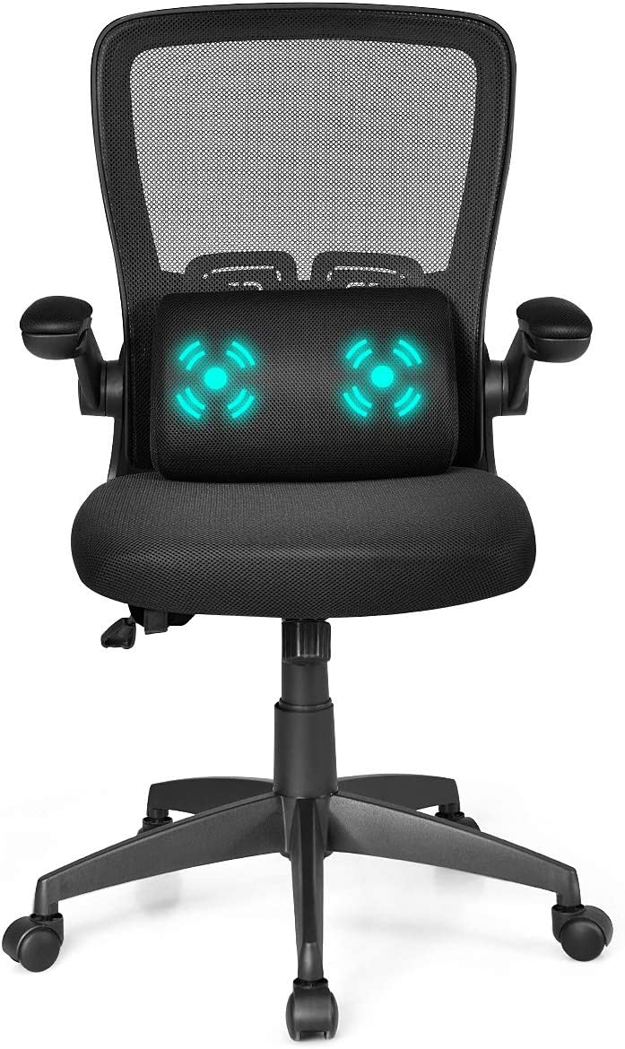 Black Giantex Ergonomic Desk Chair with Massage Lumbar Pillow and Flip up Cushioned Armrests Adjustable Height Drafting Stool for Standing Desk Swivel High Back Mesh Computer Chair
