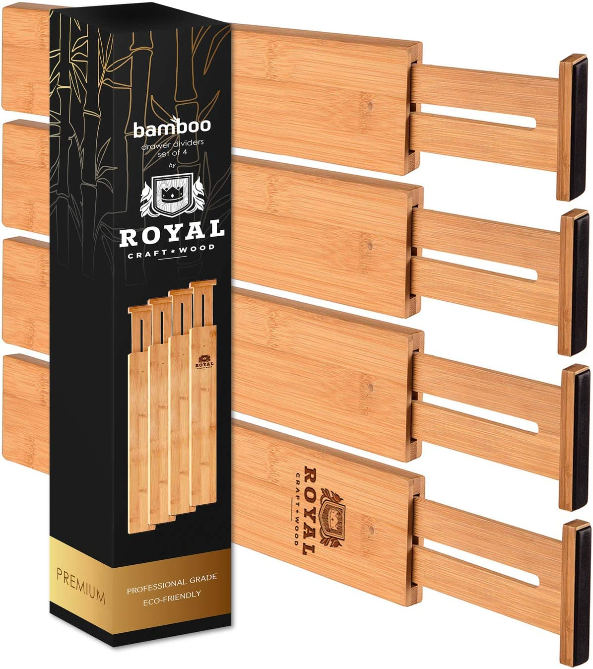 ROYAL CRAFT WOOD Adjustable Bamboo Drawer Dividers Organizers - Expandable Drawer Organization Separators for Kitchen, Dresser, Bedroom, Bathroom and Office, 4-Pack, 13.25-17.25 in