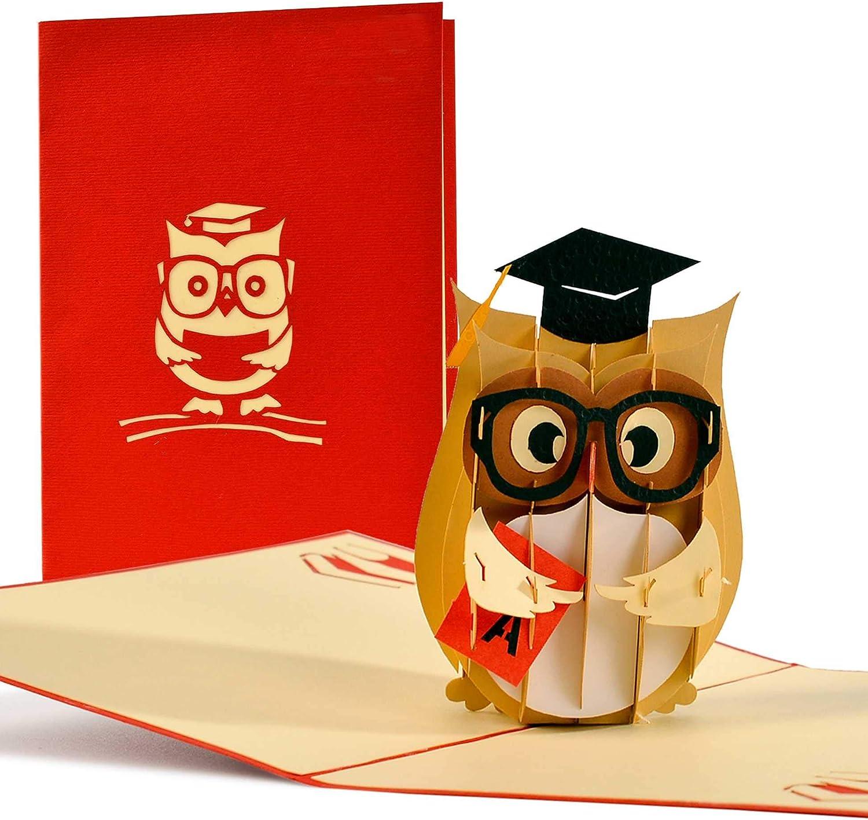 Tarjetas de graduacion pop up 3d de buho con birrete. Tarjetas regalo para graduacion, tarjetas de felicitacion e invitaciones para estudiantes, hermanos e hijos, C16
