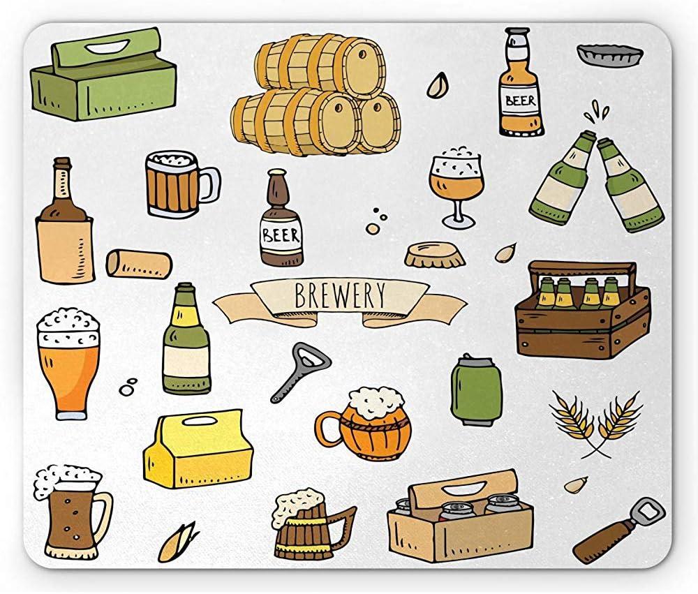 Cerveza Mouse Pad, Dibujado a Mano Cervecería Alcohol Pub Cerveza Jarra Botella Culo Vidrio Trigo Cebada Doodle, Multicolor