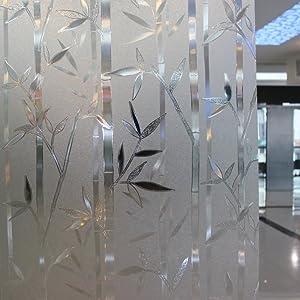 Leyden 24-by-72-Inch Cut Glass Bamboo Leaf No-Glue 3D Static Decorative Glass Window Films