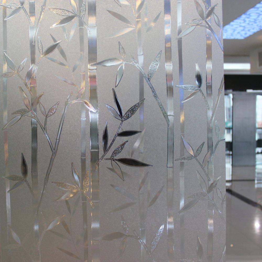 Leyden 17.7-by-72-Inch Cut Glass Bamboo Leaf No-Glue 3D Static Decorative Glass Window Films