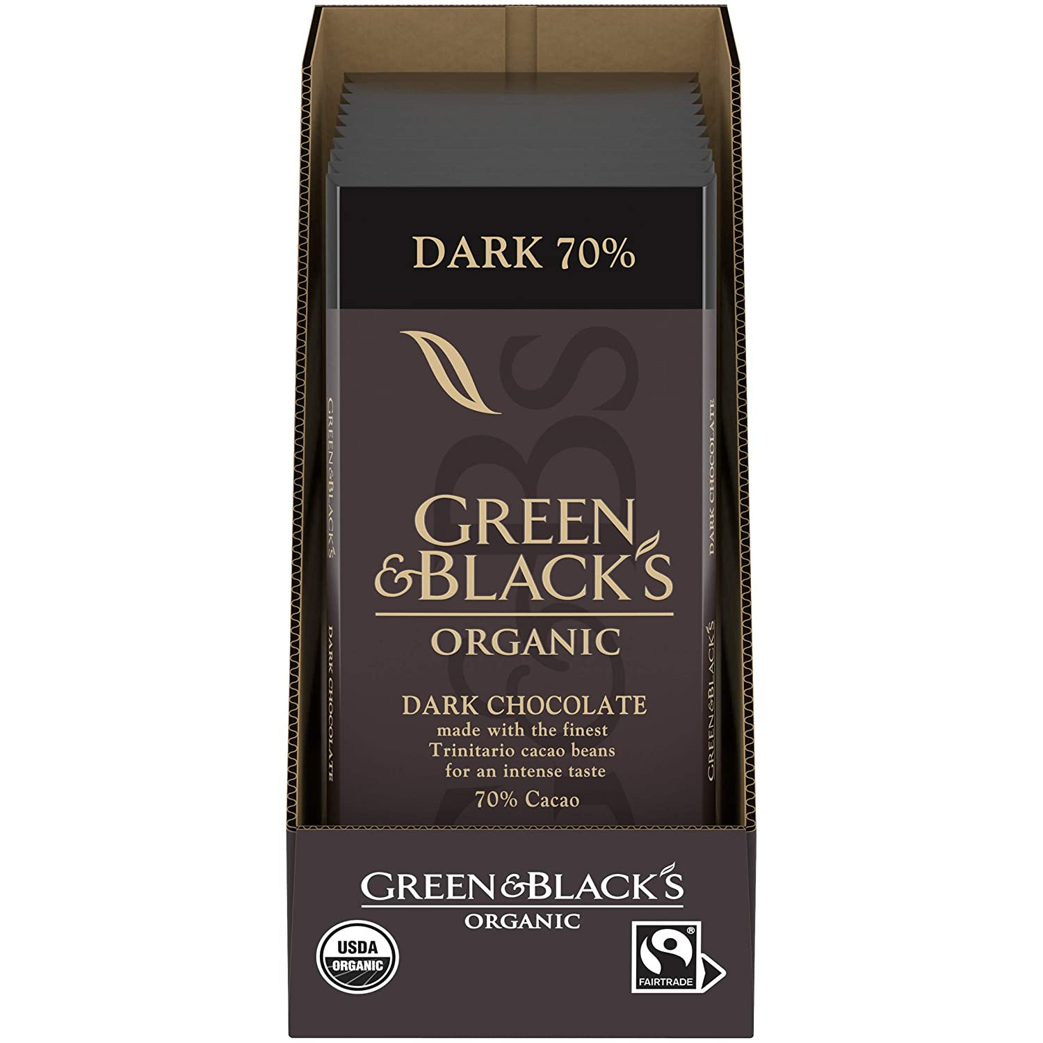 Green & Black's Organic Dark Chocolate Bar, 70% Cacao, Easter Chocolate, 10 - 3.17 oz Bars