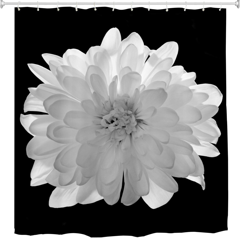 Amazon Com Broshan Black And White Flower Fabric Shower Curtain