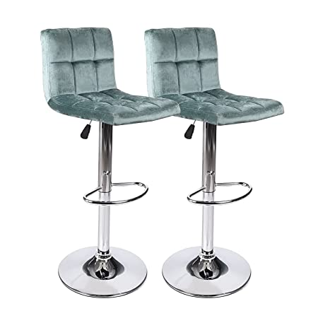 Mid – Back Square Fabric Bar Stools, 360 Degree Swivel Adjustable Hydraulic Counted Height Dining Chairs with Chrome Base, Set of 2 Green 1