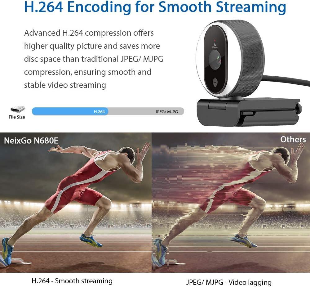 1080P Webcam with Ring Light, Privacy Cover and Dual Microphone, Advanced Auto-Focus, Adjustable Brightness, 2021 NexiGo Streaming Web Camera for Zoom Skype Facetime, PC Mac Laptop Desktop