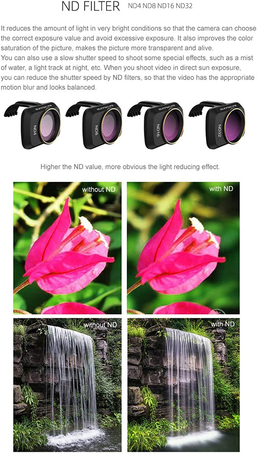 AutumnFall ND4+ND8+ND16+ND32 4PCS Camera Neutral Lens Filters Compatible with DJI Mavic Mini Drone