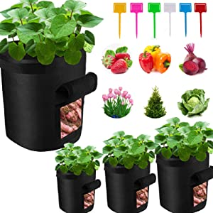 HSONLINE Grow Bags, 2-Pack 7 Gallon Plant Grow Bags with Access Flap and Handles, Potato Grow Bags, Pots Grow Bags, Garden Vegetable Planter Growing Containers for Carrot, Onion, Fruit, etc (Black)