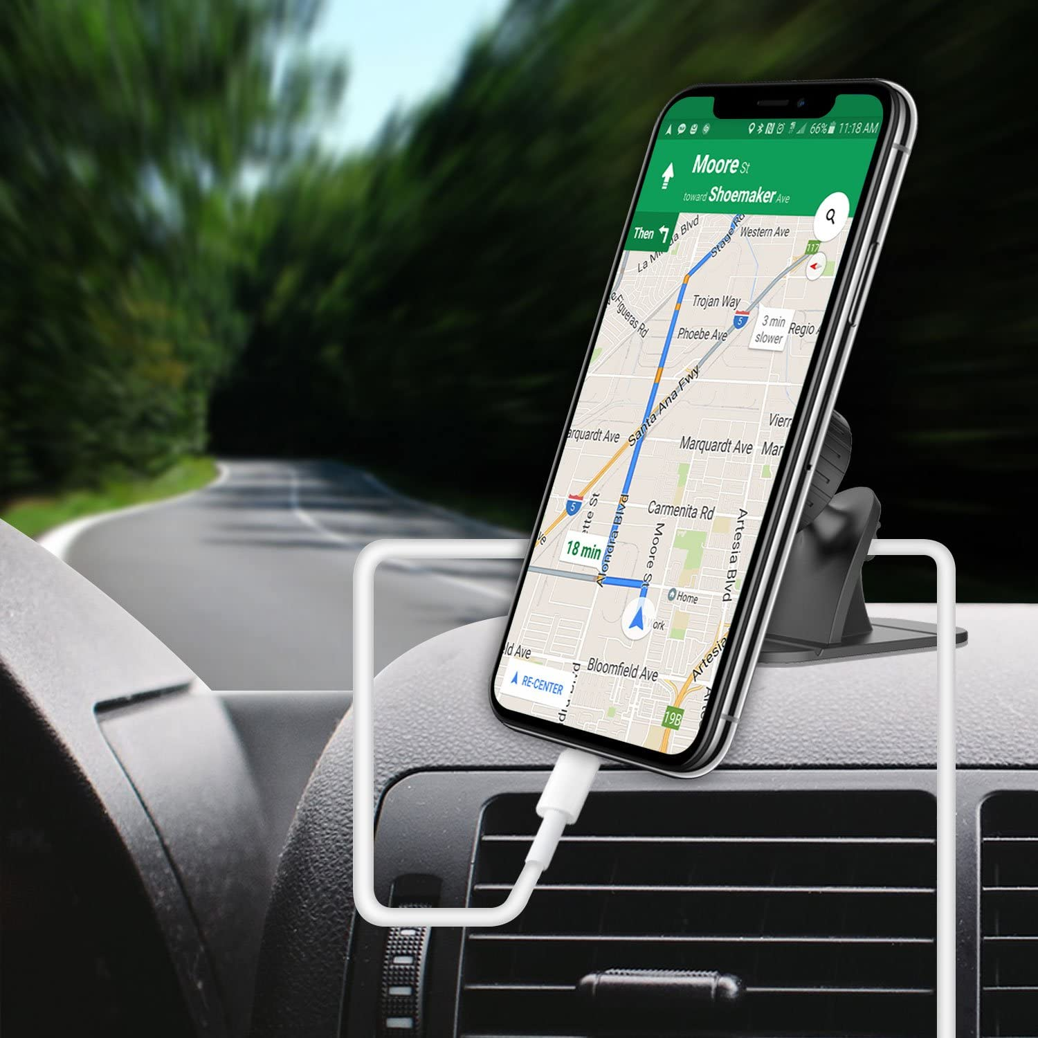 Cellet Magnetic Dashboard Phone Holder Mount Universal Compatible with iPhone 11 Pro 11 Pro Max 11 Xr Xs Max Xs X SE 8 Plus 8 7 Plus 7 6S Plus 6S 6 Plus 65S 5C 5 4S 4 3GS 3G iPod Touch iPod Nano