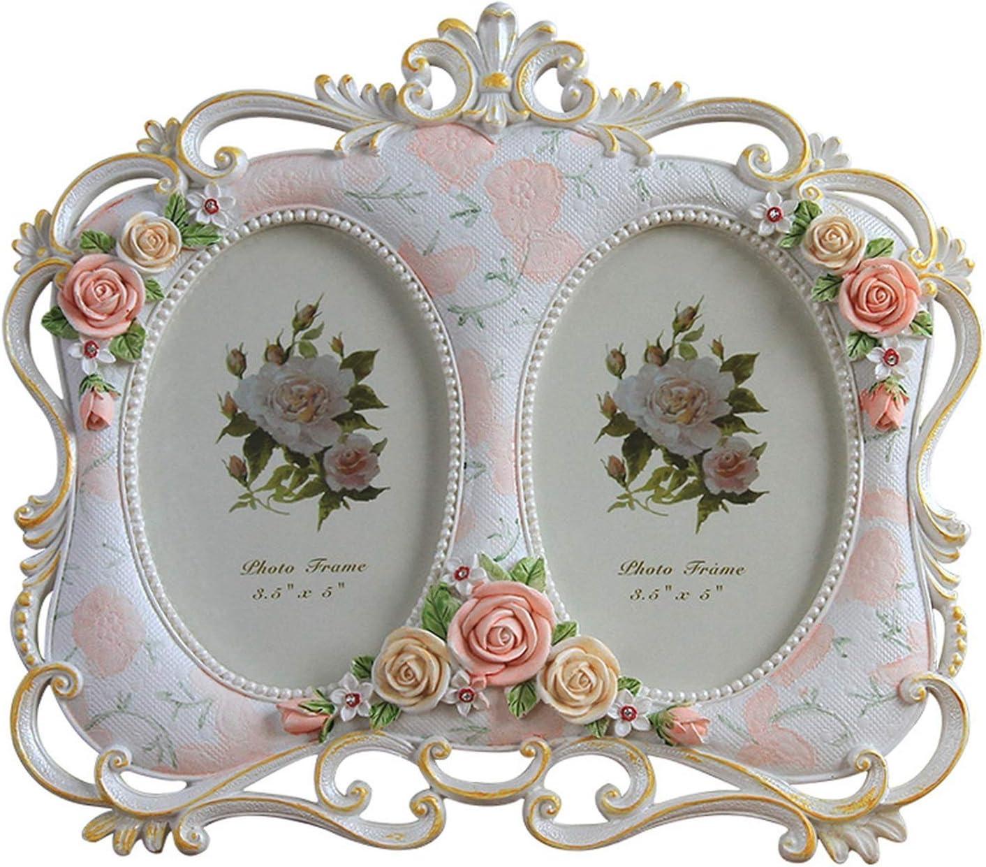 Amazon Com Romantic Flower Decor Photos Frames Home Decor Picture Frames Single Double Windows Frames For Family Wedding Couples Marco Foto 5 Inch Double Hole