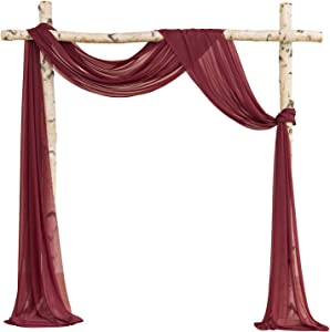 Ling's moment Sheer Backdrop Curtain Panels for Wedding Arch Ceremony Decorations (6 Yards Drapping Fabric, Burgundy)